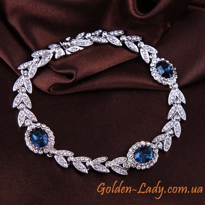 браслет с синимим камнями