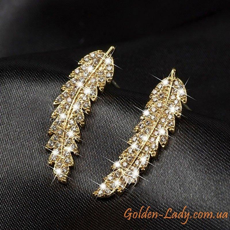 сережки лепестки золотые