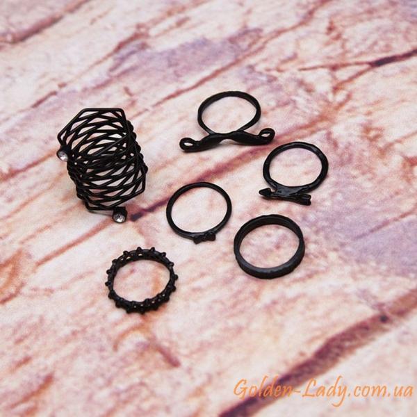 Черные кольца в наборе 6 штук