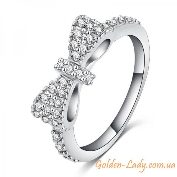 Кольцо с бантиком в белом золоте