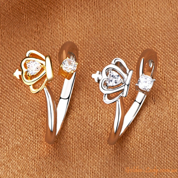 "Два кольца с короной ""Delicate"""