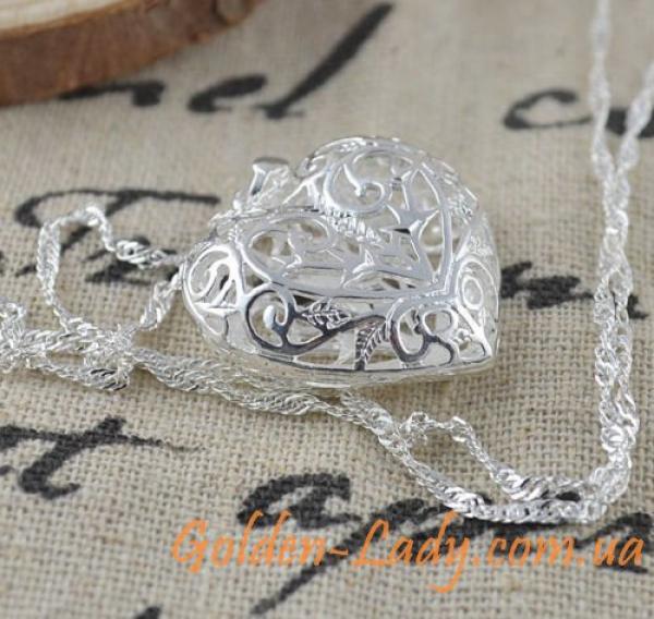 кулон сердечко из серебра