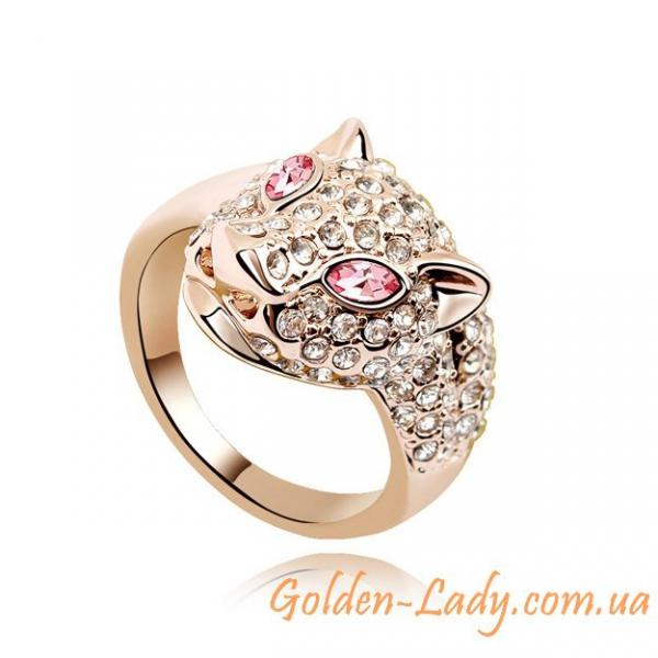 """Кольцо """"Кристальный леопард"""" с розовыми камнями"""