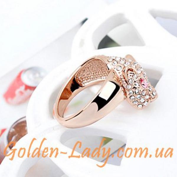 кольцо леопард с камнями