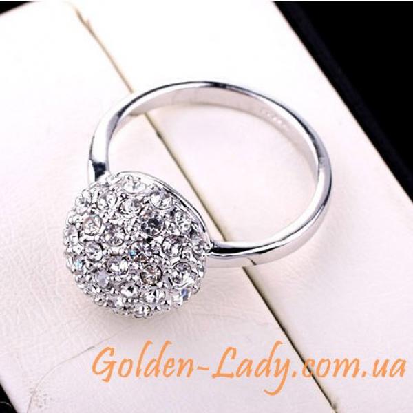 """Кольцо """"Кристальный пион"""", белое золото 750"""
