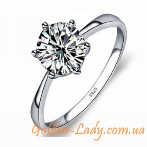 Классическое серебряное кольцо с фианитом
