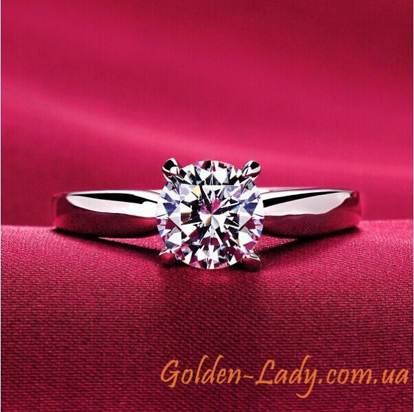 """Классическое кольцо в белом золоте с фианитом """"Sindi"""""""