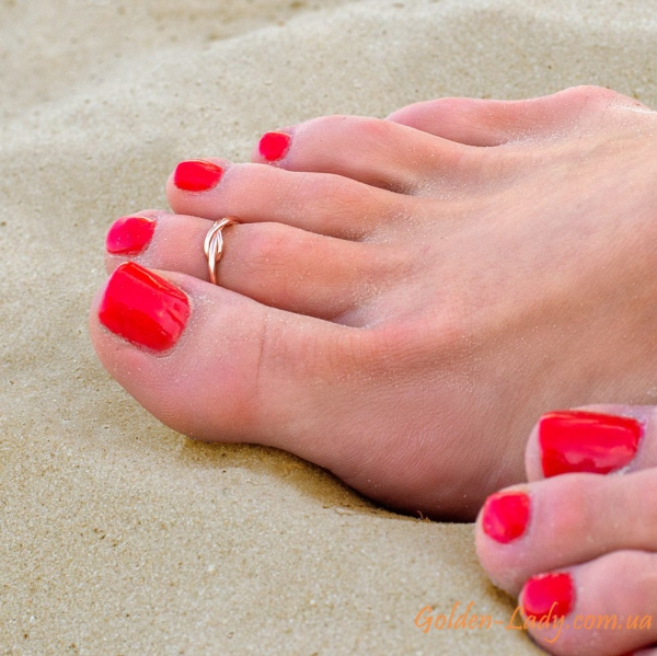 кольцо на ноге infinity розовое золото