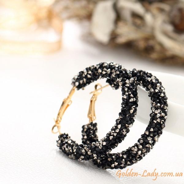 сережки с черными камнями