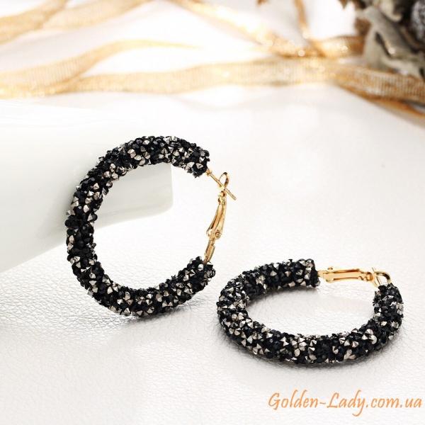 серьги кольца с черными камнями