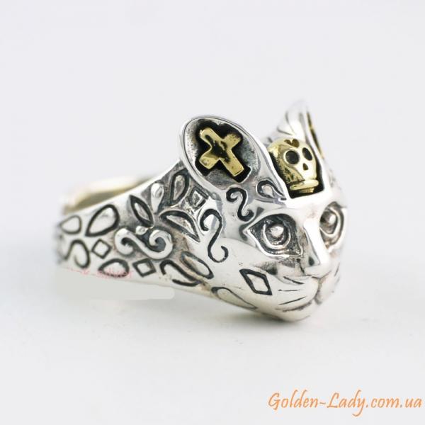 кольцо в форме кошки из серебра