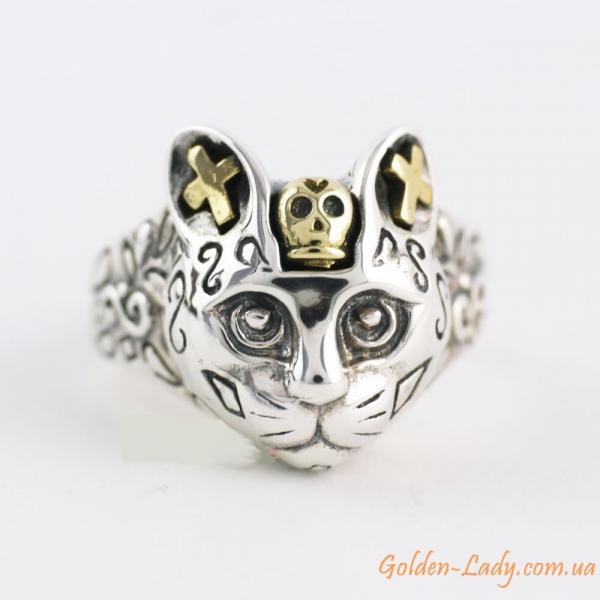 серебряное кольцо в виде кошки в украине