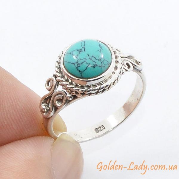 """Серебряное кольцо с бирюзой """"Джиоти"""" Индия"""