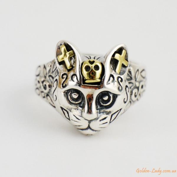 Серебряное кольцо в виде кота