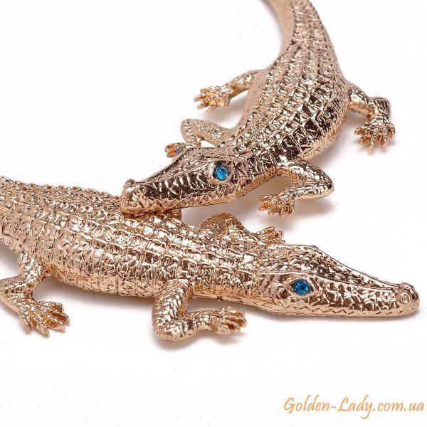 колье с двумя крокодилами