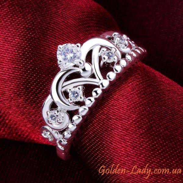 """Кольцо в форме короны """"Brilliant island', покрытое серебром"""