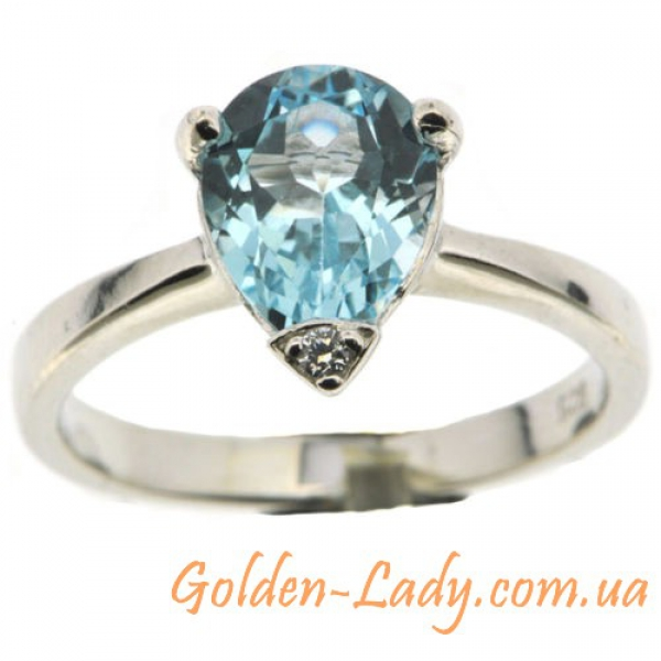 кольцо с топазом, серебро 925