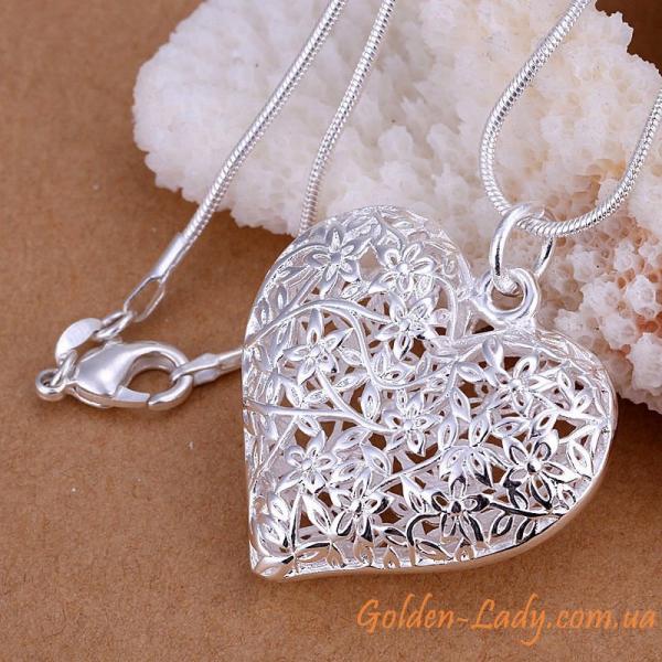 "Серебристый кулон в форме сердца ""Lovely dream"""