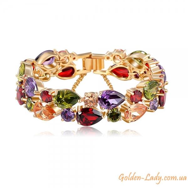 """Браслет """"Spring"""" с тройным золотым покрытием и кристаллами Сваровски"""