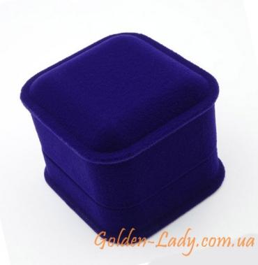 Футляр для кольца синий бархатный