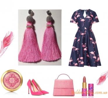 Розовые серьги кисти Golden Lady
