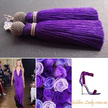 Фиолетовые серьги кисти Golden Lady