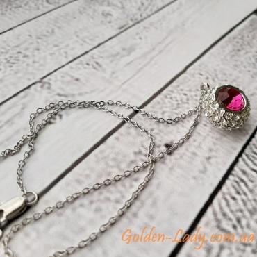 """Кулон кристальный шарик с пурпурным камнем """"Elizabeth"""""""