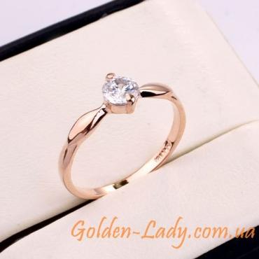 кольцо позолоченное с цирконием