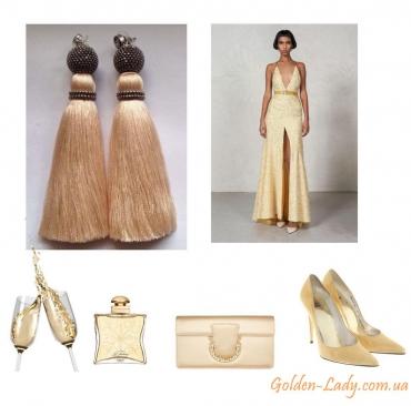 Золотые серьги кисточки Golden Lady
