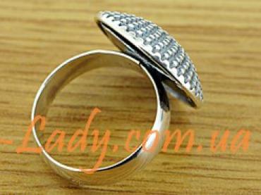 """Большое серебряное кольцо """"Пион"""""""