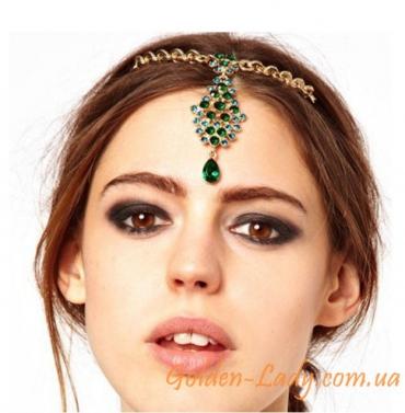 Украшение на лоб с зелеными камнями