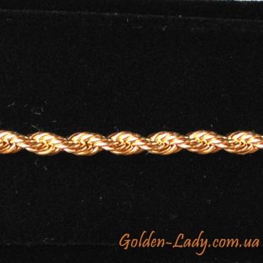 браслет двойное плетение желтое золото