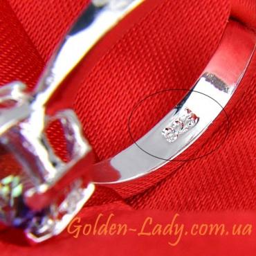 красивое серебряное кольцо для девушки с аметистом