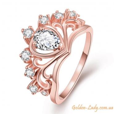 """Кольцо-корона """"Victoria"""" с фианитами розовое золото"""