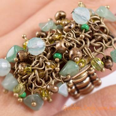 """Кольцо из античной бронзы с бирюзой """"Деметра"""""""