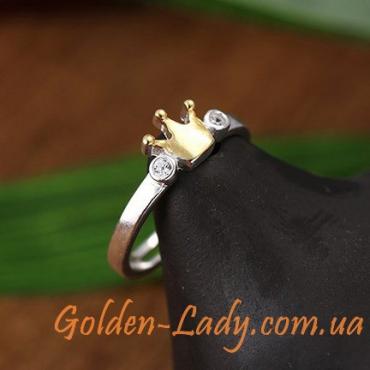 """Серебряное кольцо с короной """"Клаудия"""""""