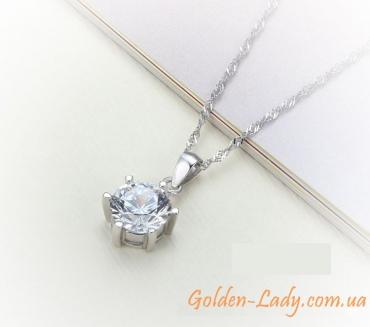 кулон с фианитом 925 серебро