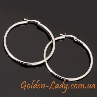 сережки кольца белое золото