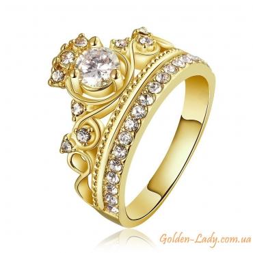 кольцо корона желтое золото