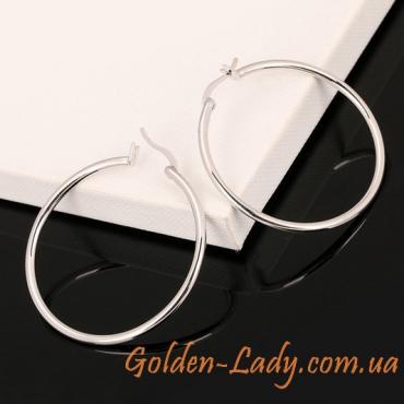"""Серьги-кольца в белом золоте """"HQ"""", 3 см"""