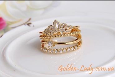 """Многогранное кольцо в виде короны """"Изабелла"""""""