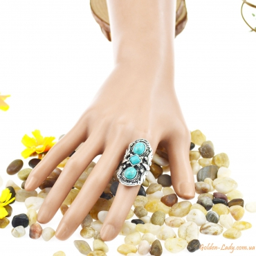 """Массивное кольцо с тремя камнями """"Бирюзовое Трио"""""""