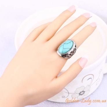 """Кольцо с большим бирюзовым камнем """"Afina"""" на пальце"""