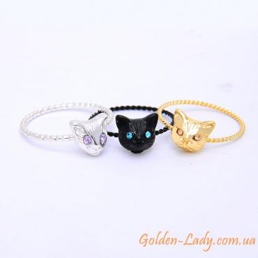 Кольцо с головой кошки, 3 цвета