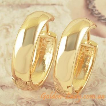 Серьги круглые, покрытые золотом 750