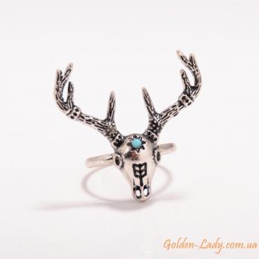 Кольцо в виде оленя с бирюзой