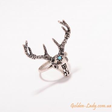 кольцо с головой оленя с рогами и бирюзой