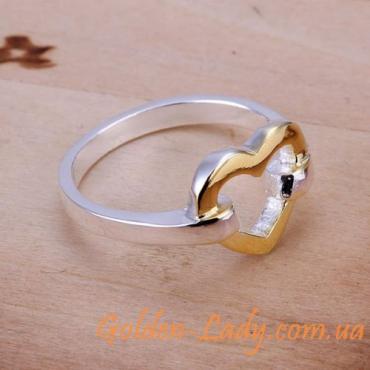 """Кольцо в форме сердечка """"Hurt"""", покрытое серебром"""