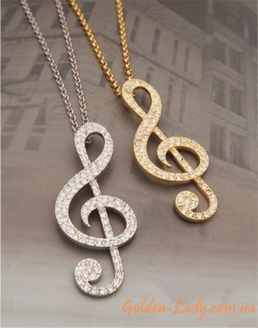 золотой кулон скрипичный ключ