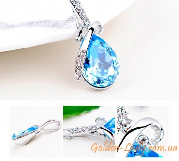 Кулон с голубым топазом и кристаллами Swarovski